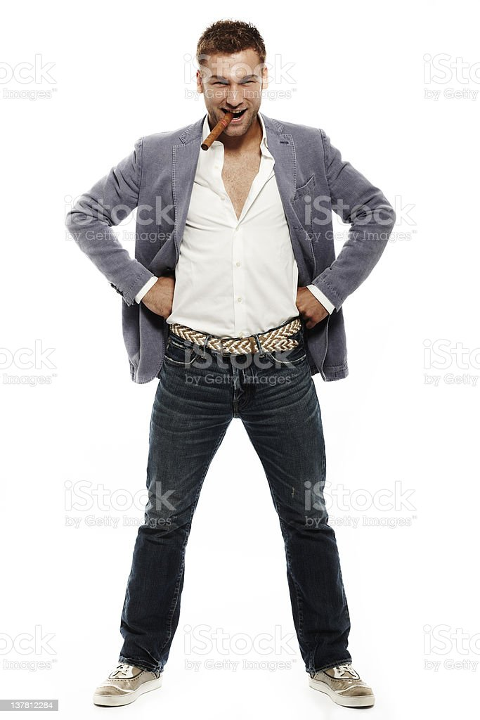 Young Man with Cigar. Color Image royalty-free stock photo
