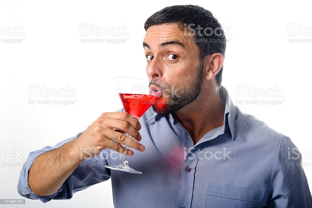 Young Man with Cocktail Isolated White royalty-free stock photo