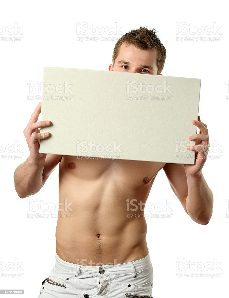 Young Man with Copy Space Billboard royalty-free stock photo