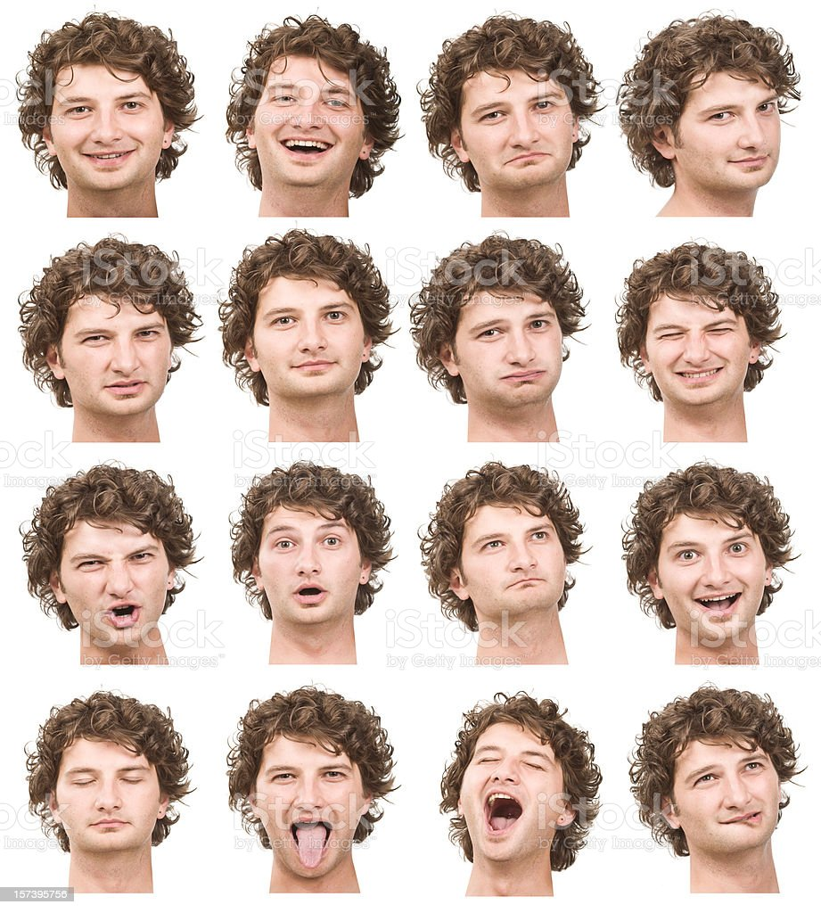 young man with curly blond hair collection of expressions royalty-free stock photo