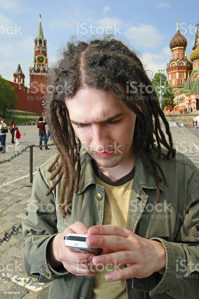 Young man with dreadlock hair. royalty-free stock photo