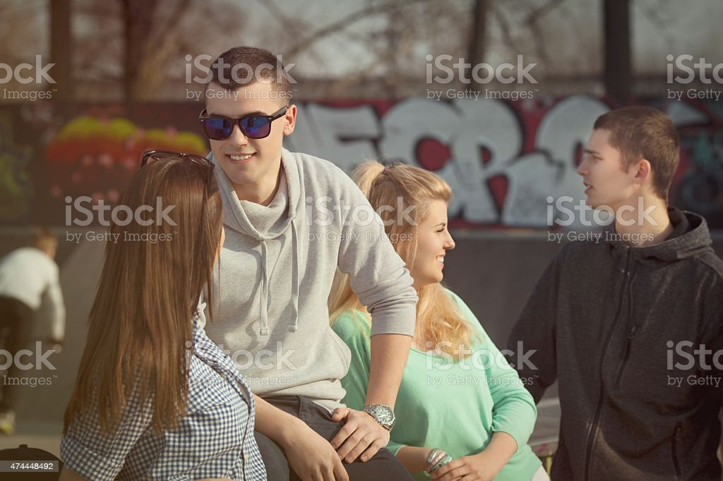 Young Man with Friends stock photo