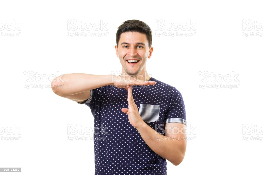 Young man with gestures stock photo