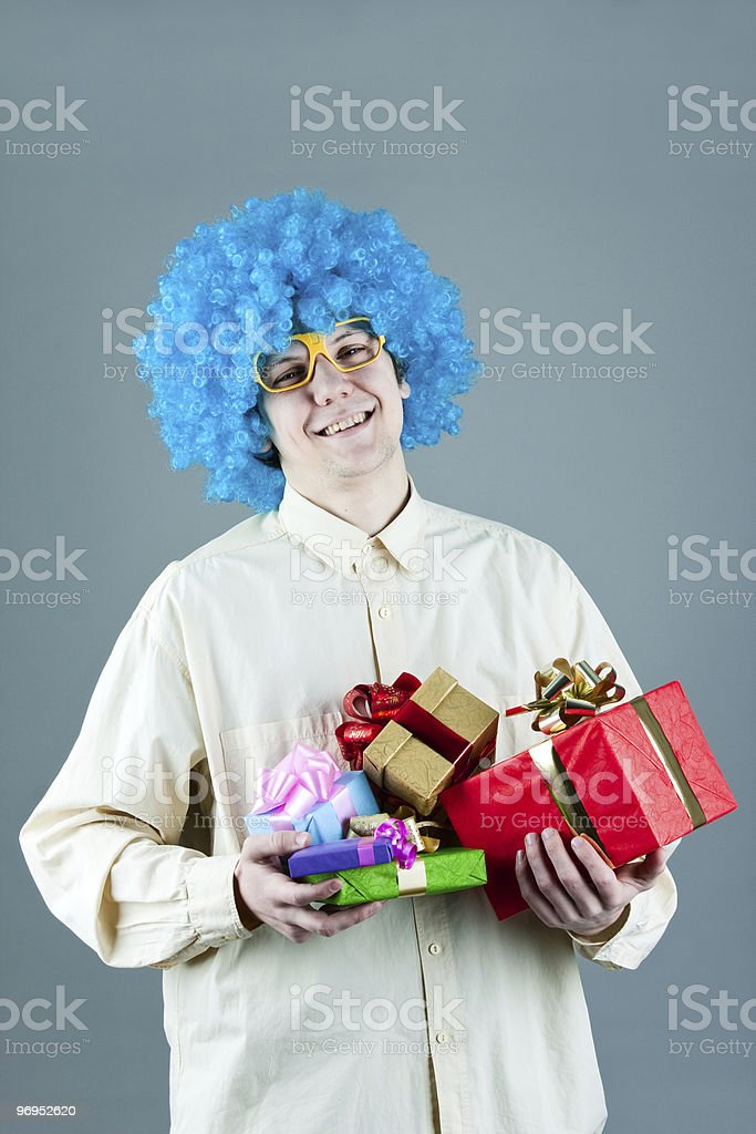 young man with gifts royalty-free stock photo