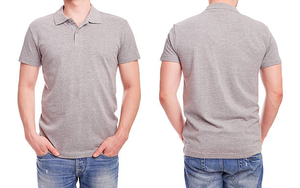 Young man with gray polo shirt stock photo