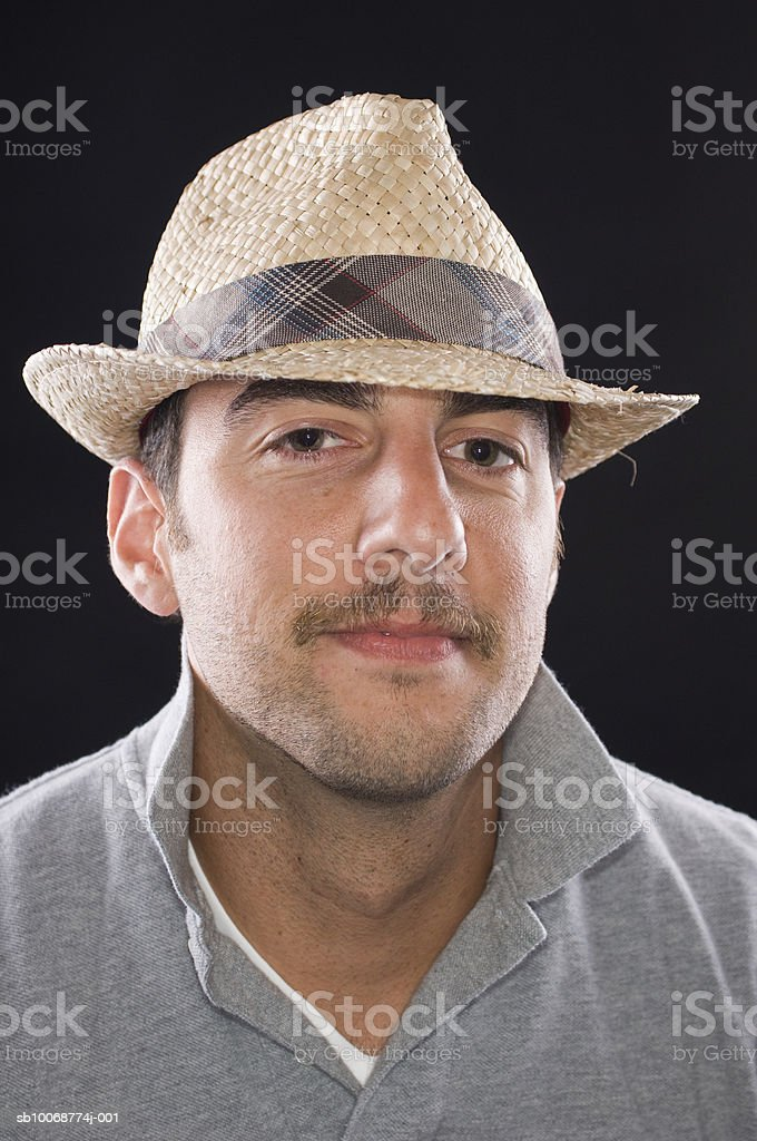 Young man with hat, close-up, portrait royalty-free stock photo