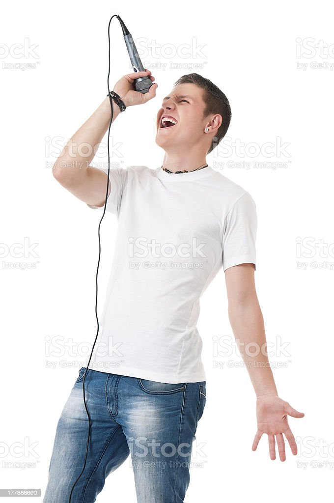 Young man with microphone royalty-free stock photo