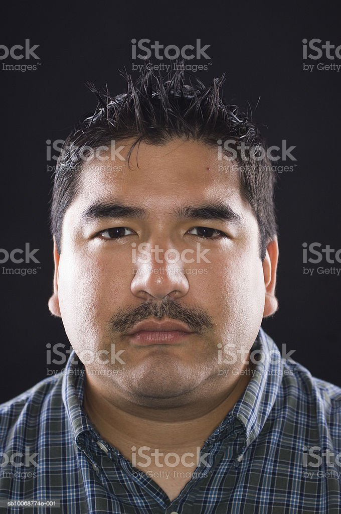 Young man with moustache, close-up, portrait royalty-free stock photo