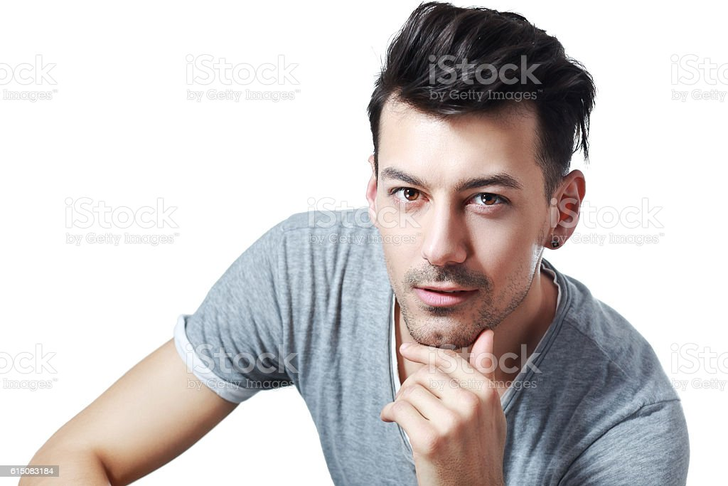 young man with mysterious look stock photo