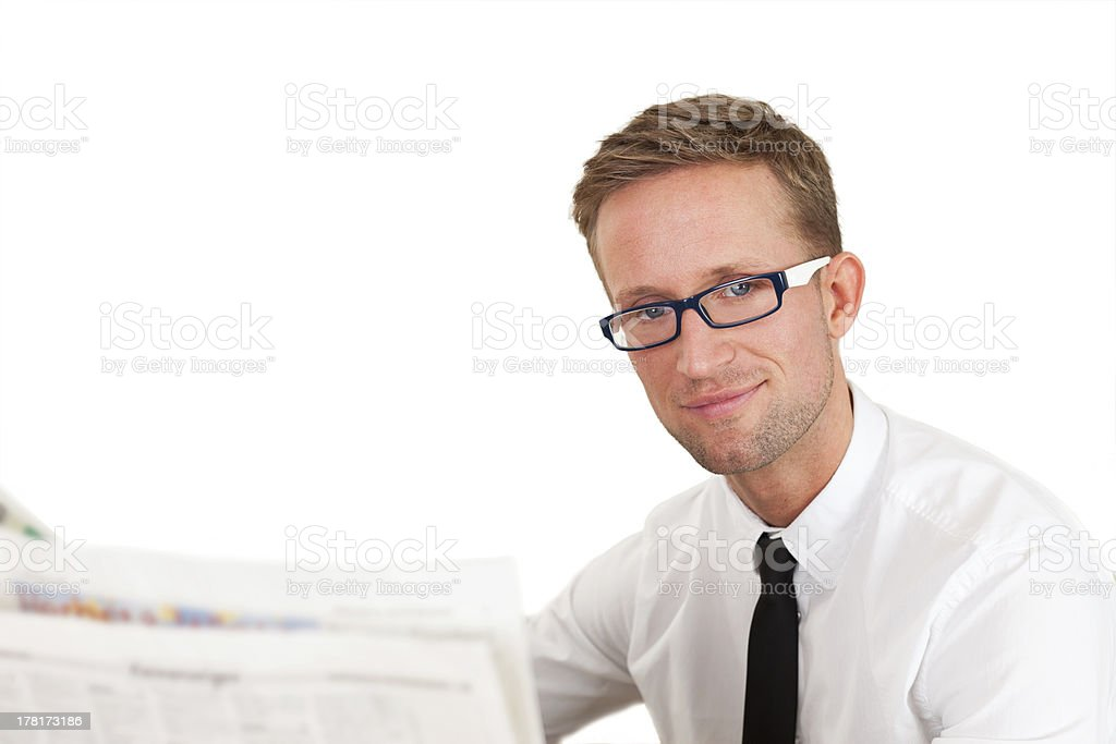 young man with newspaper stock photo