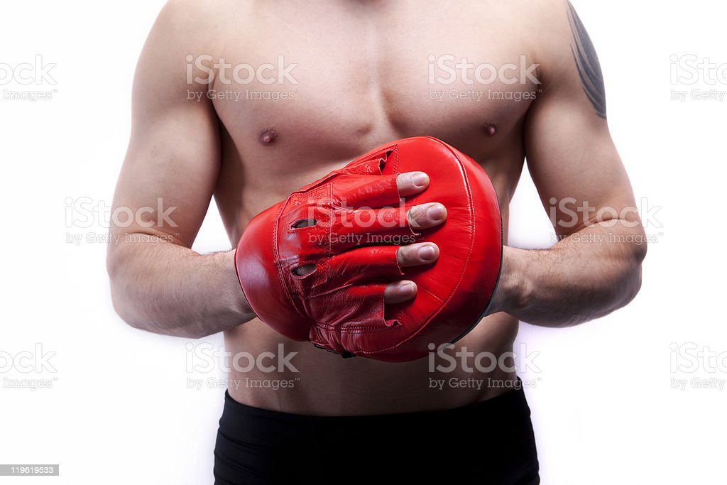 Young man with red boxing glove royalty-free stock photo