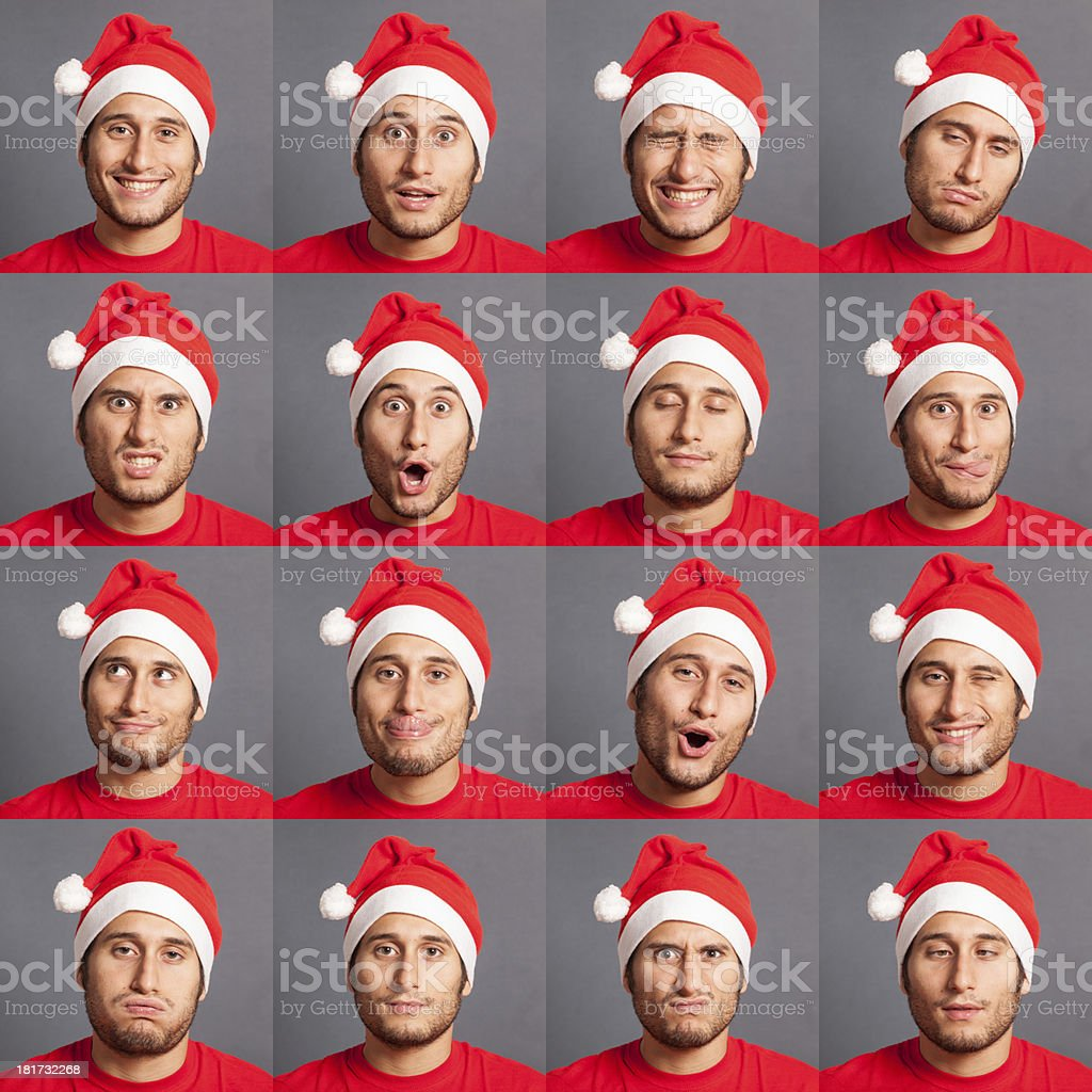 Young Man with Santa Hat Collection of Expressions royalty-free stock photo