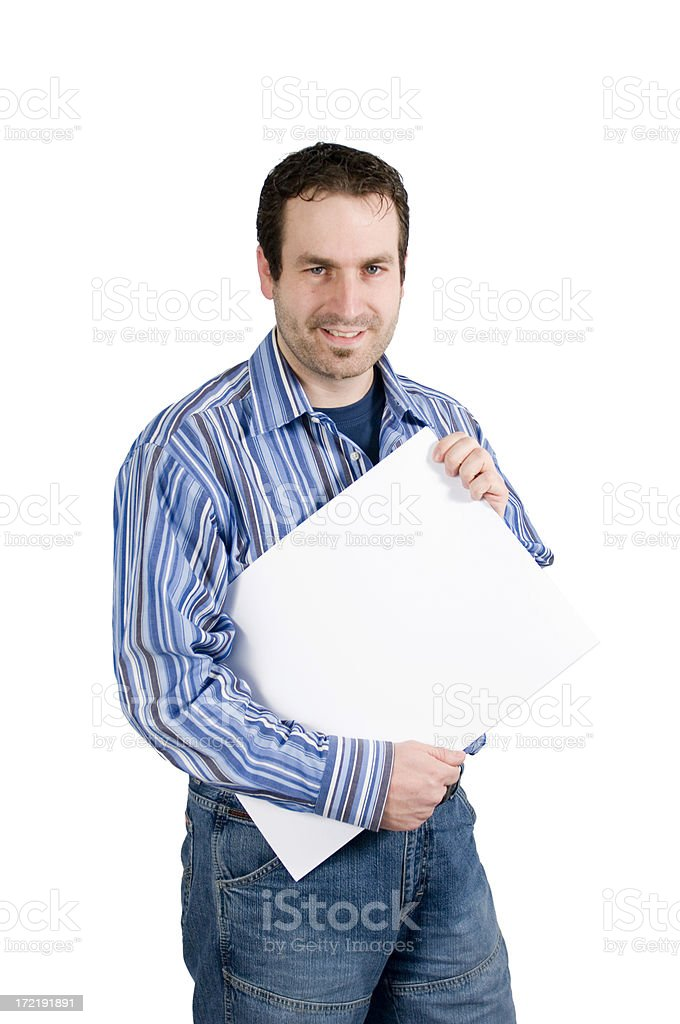 Young man with sign royalty-free stock photo