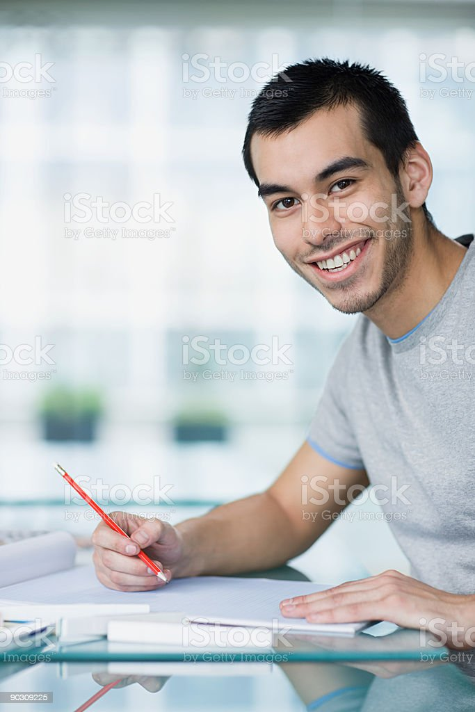 Young man with sketch book royalty-free stock photo