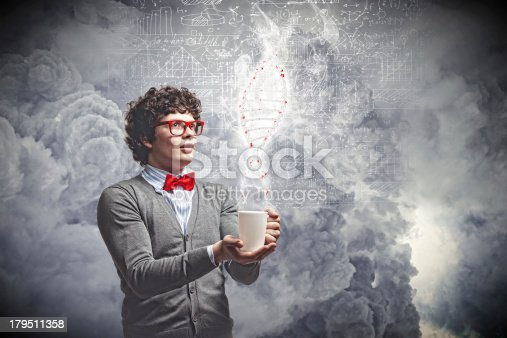 istock Young man with smoke coming out of cup 179511358