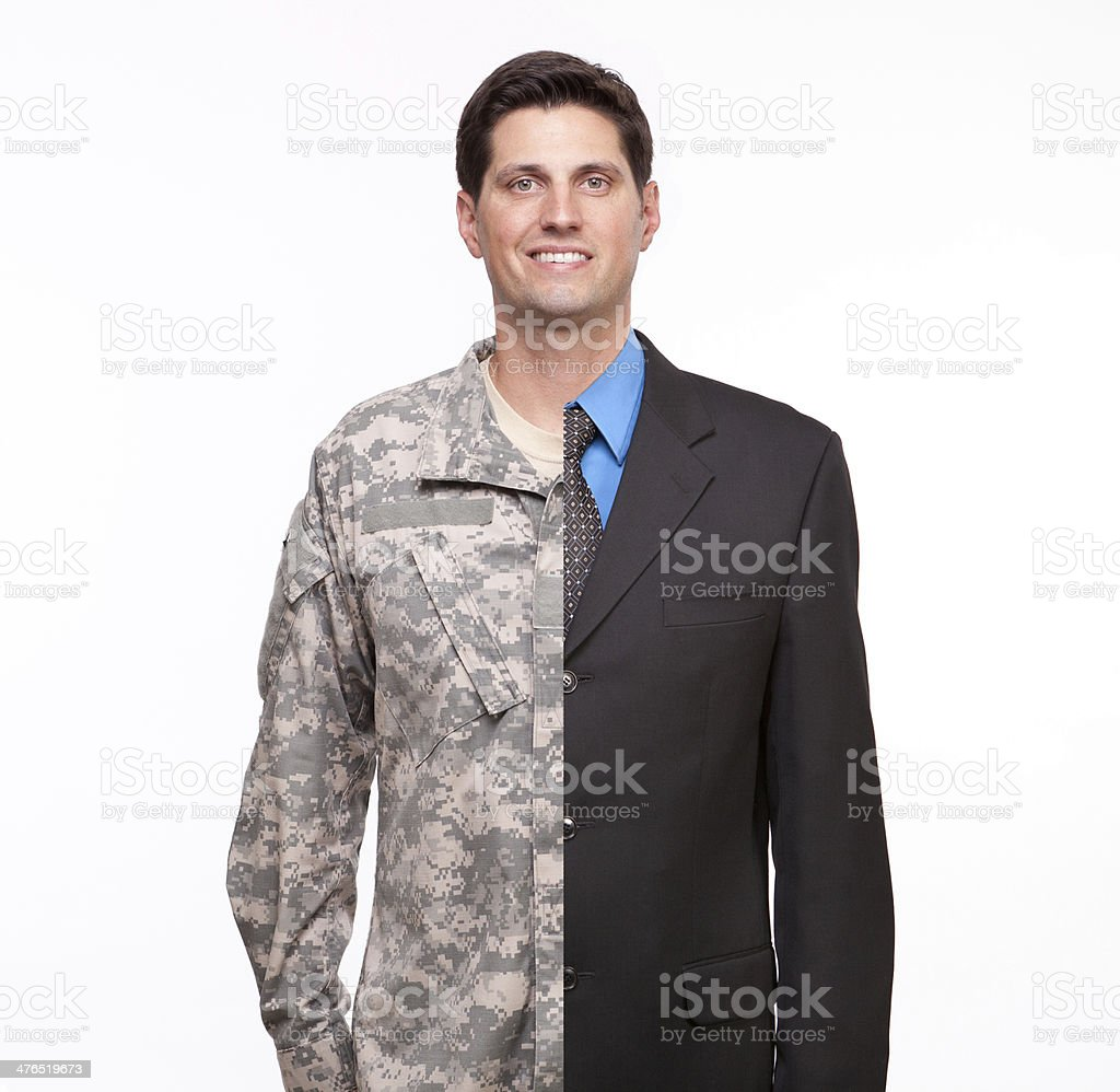 young man with split careers businessman and soldier Young man with split careers Adult Stock Photo