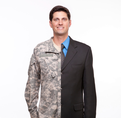Young Man With Split Careers Businessman And Soldier Stock Photo - Download Image Now