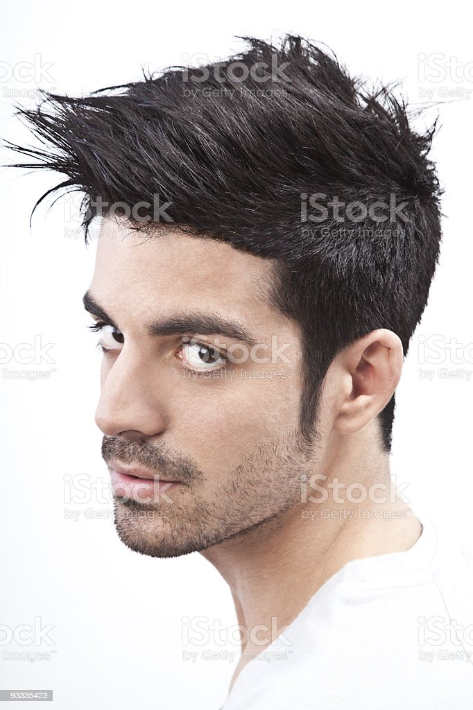 Young man with styled hair portrait stock photo