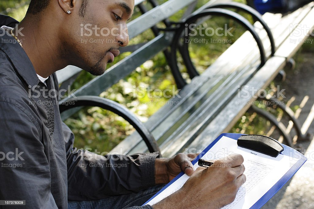 Young Man with Survey royalty-free stock photo