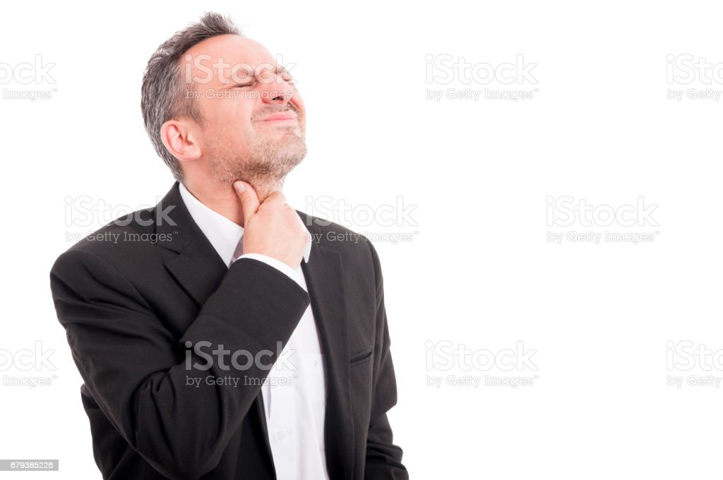 Young man with throat pain or tonsillitis - Photo
