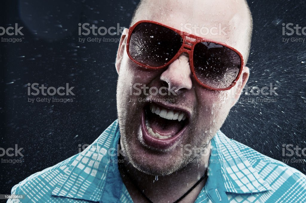 Young Man With Water Splashed on Face stock photo