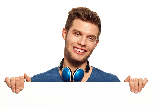 Young Man With Whiteboard Stock Photo - Download Image Now