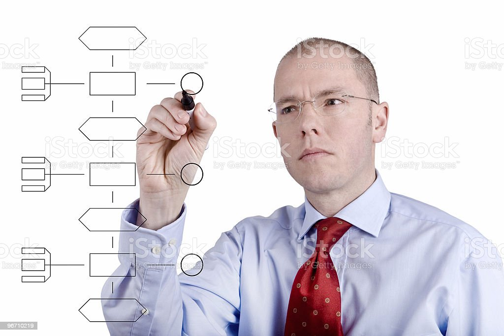 Young man working on innovation map royalty-free stock photo
