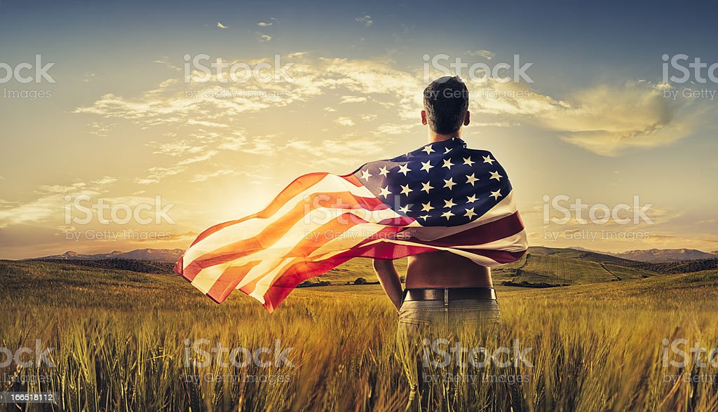 Young man wrapped American flag crop field sunset stock photo