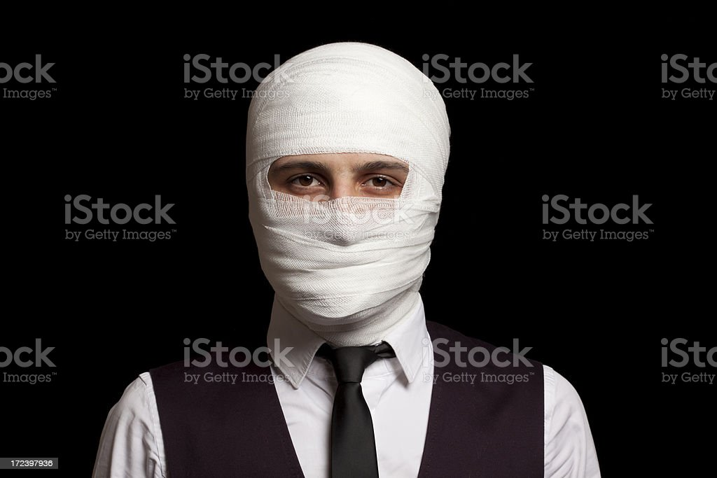 Young Man Wrapped in Bandage