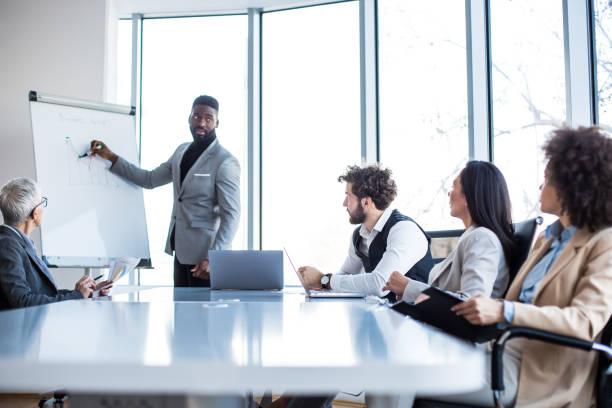 en ung chef presenterar grafresultaten på whiteboard tavlan till styrelsen på konferensrummet. - styrelse bildbanksfoton och bilder