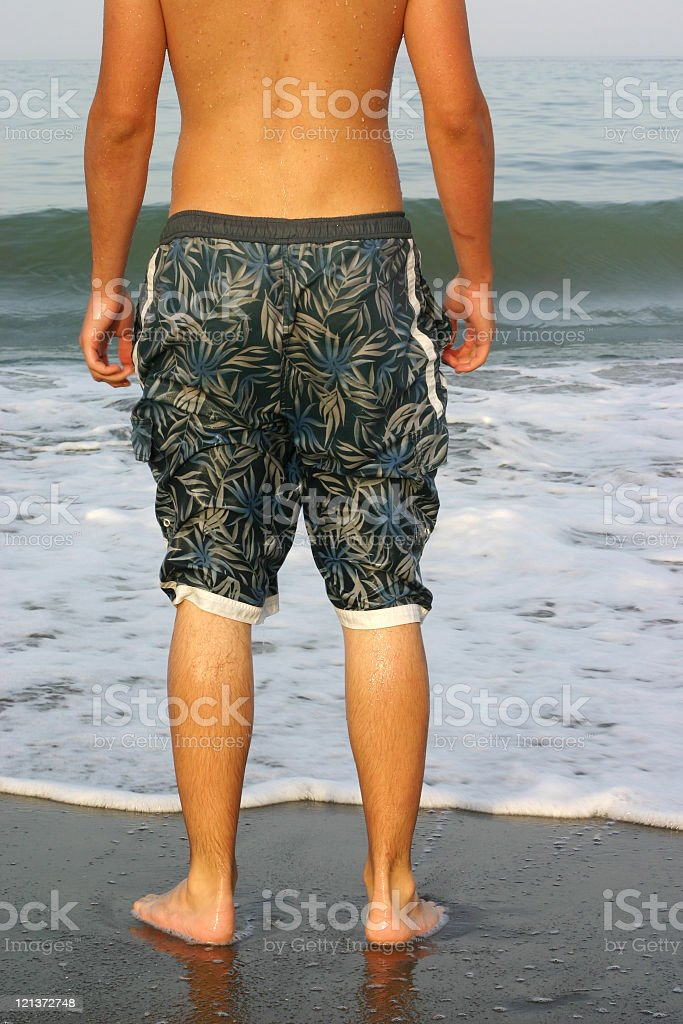 Young man's bathing suit royalty-free stock photo