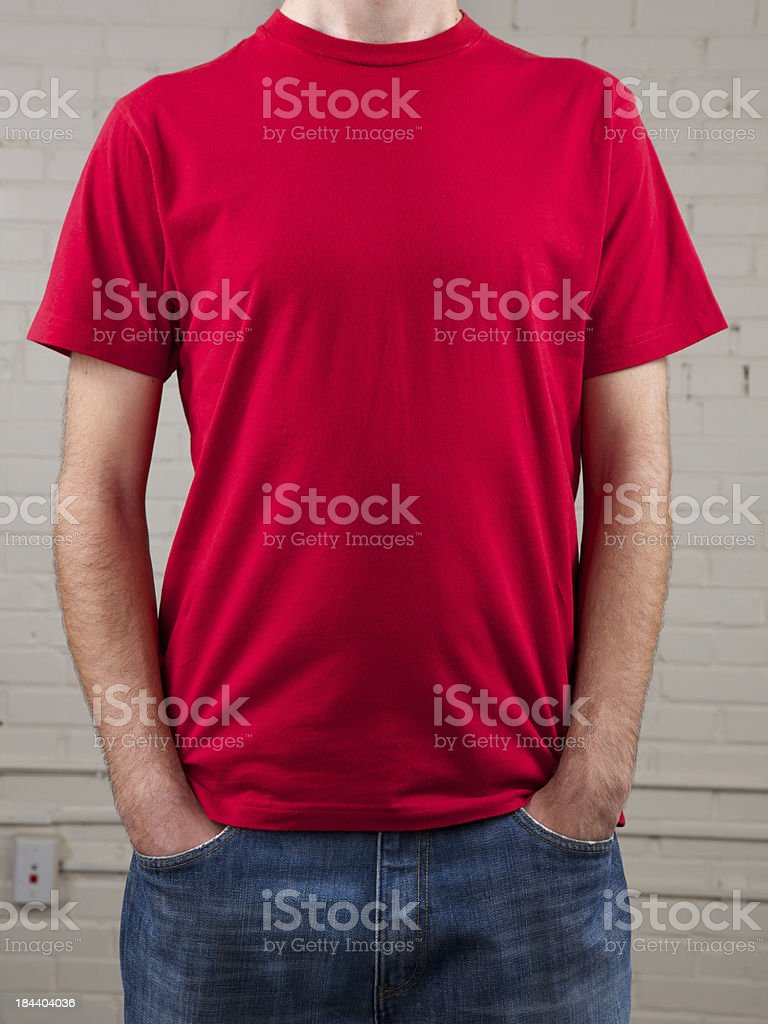 Young man's chest with blank red shirt royalty-free stock photo