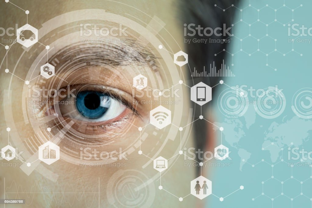 young man's eye and technology concept, smart contact lens display, Iris verification, wearable computing, abstract image visual stock photo
