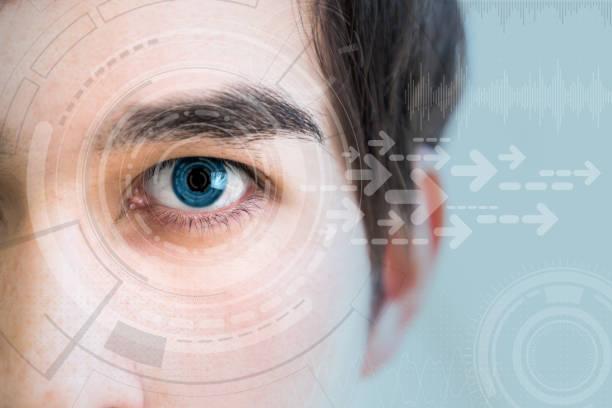 young man's eye and technology concept, smart contact lens display, iris verification, wearable computing, abstract image visual - soczewka gałka oczna zdjęcia i obrazy z banku zdjęć