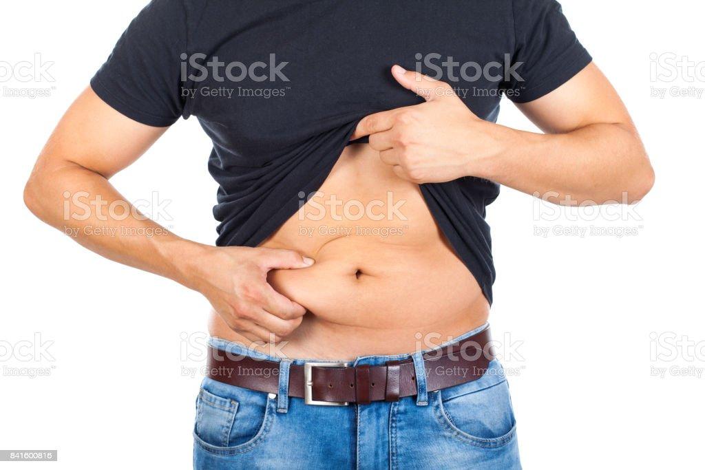 Junger Mann fetten Bauch – Foto