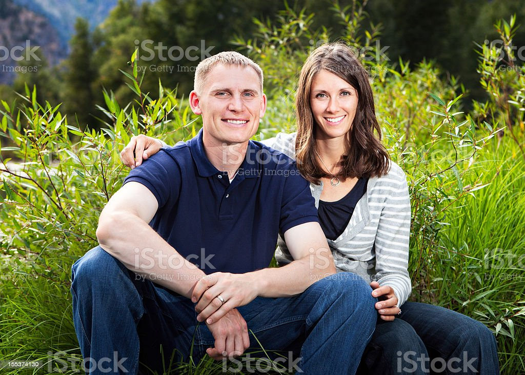 Young Married Couple Outdoors Nature royalty-free stock photo