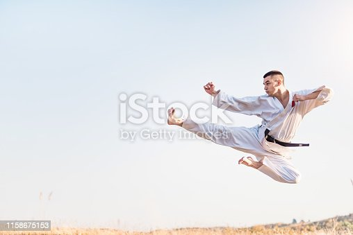 Young martial artist practicing flying kicks in nature.