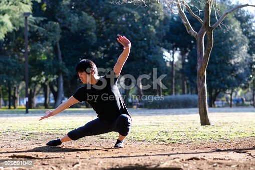 istock Young martial arts enthusiast practicing outside 929891042