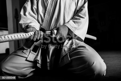 istock Young martial arts fighter with katana 501593348