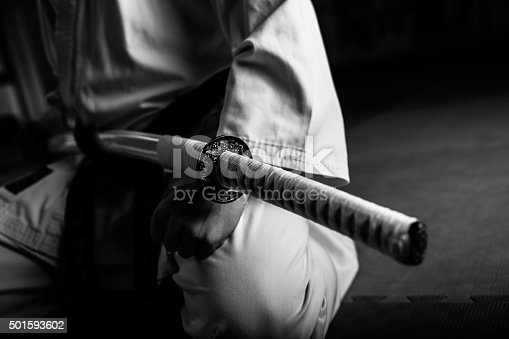 istock Young martial arts fighter with katana 501593602