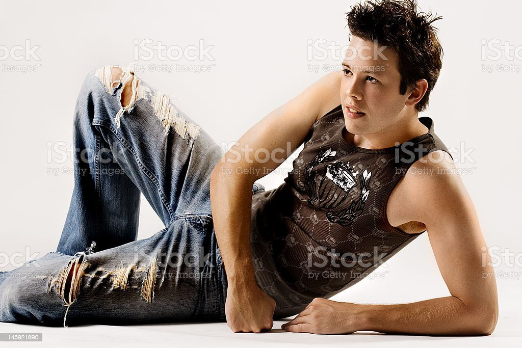 Young mascular male relaxing royalty-free stock photo