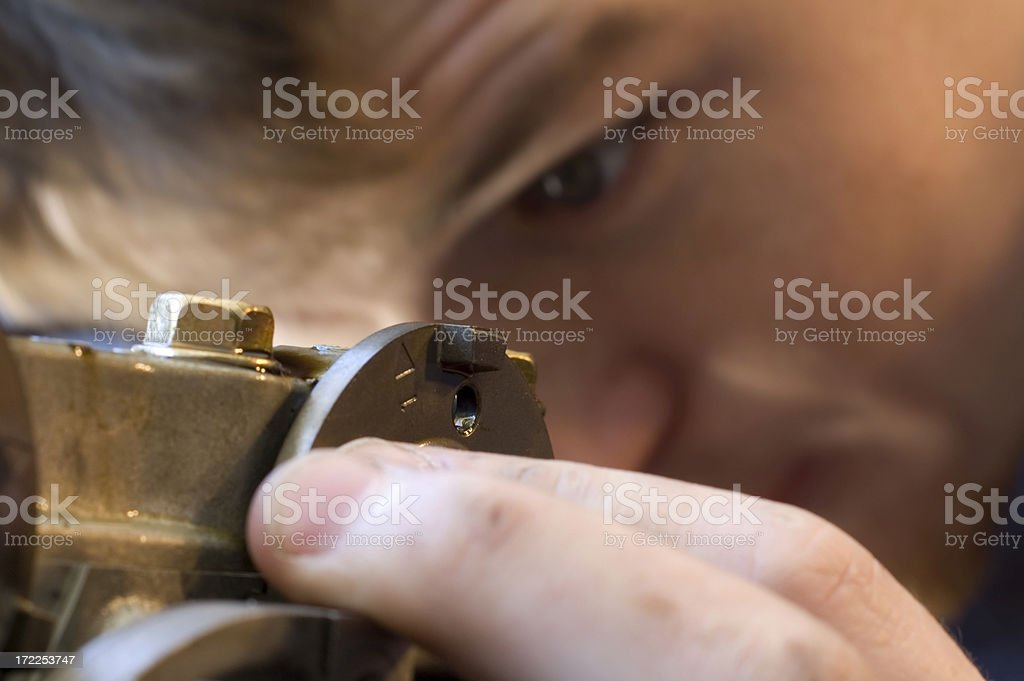 Young Mechanic Inspecting royalty-free stock photo