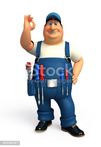 istock Young Mechanic with best sign 470161071