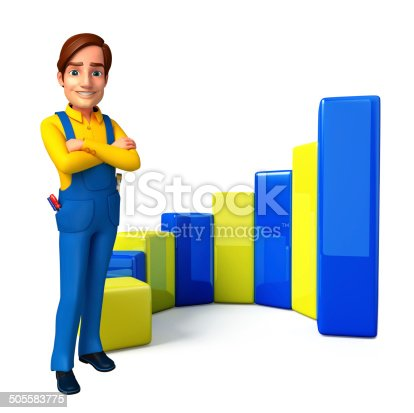 istock Young Mechanic with business graph 505583775
