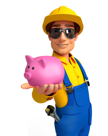 istock Young Mechanic with piggy bank 505534997