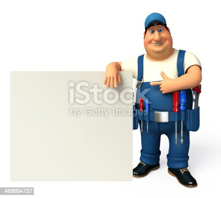 istock Young Mechanic with Sign 469994757