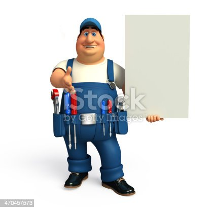 istock Young Mechanic with sign 470457573