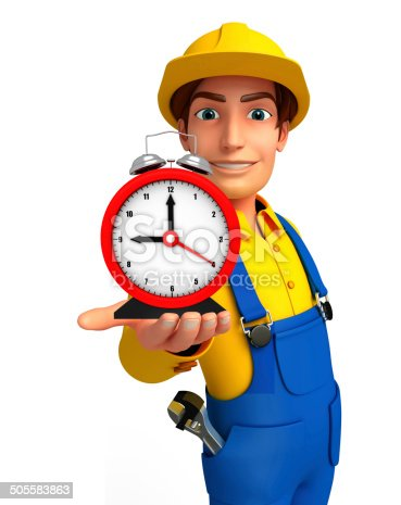 istock Young Mechanic with table clock 505583863