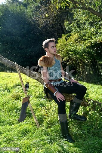 630040004istockphoto Young Medieval dressed man, sits on branch and looks aside 635975388