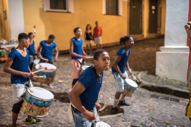 young members of drummer school at historic Center Pelourinho in Salvador stock photo